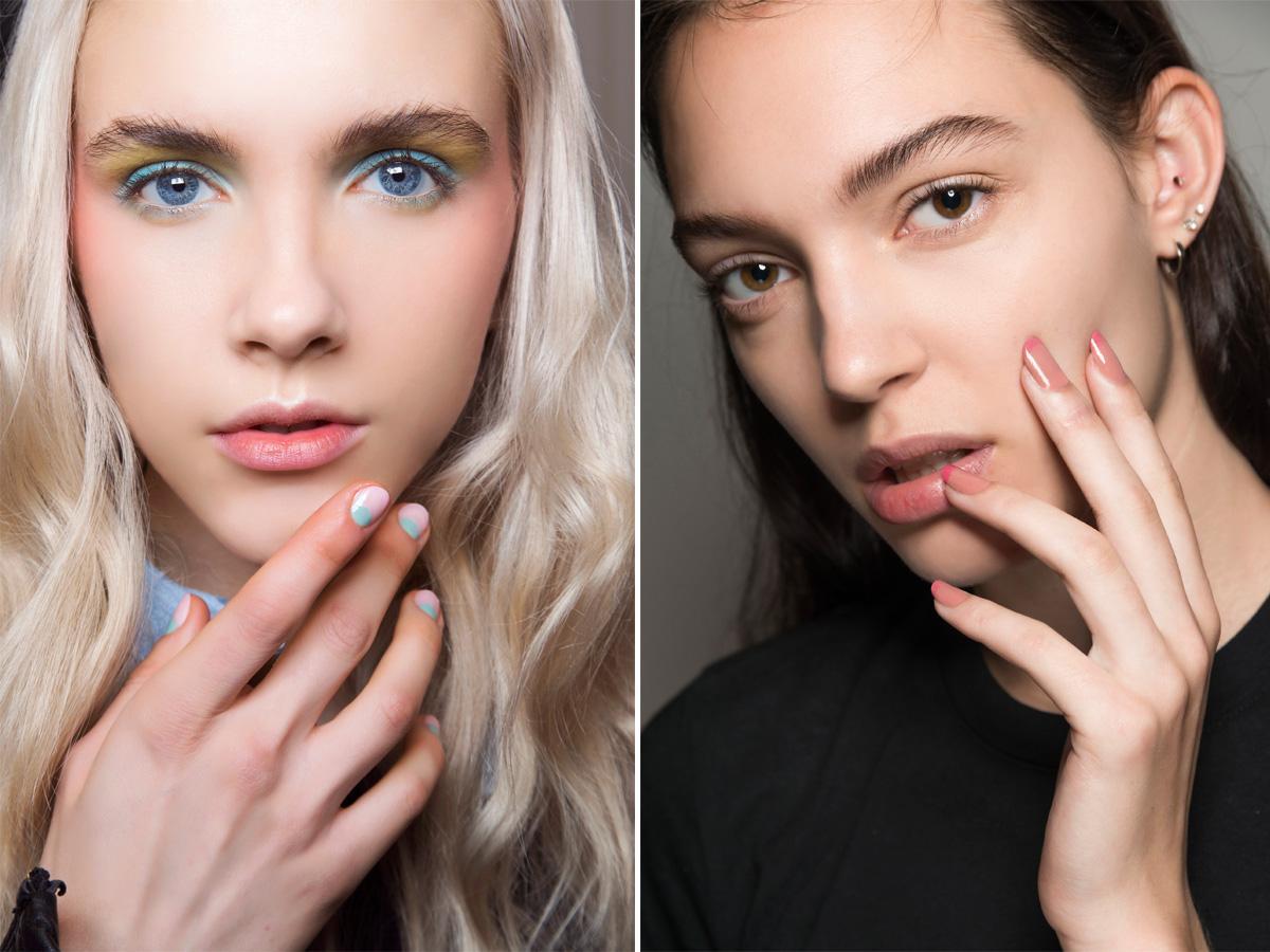 Różowe paznokcie moon i french manicure