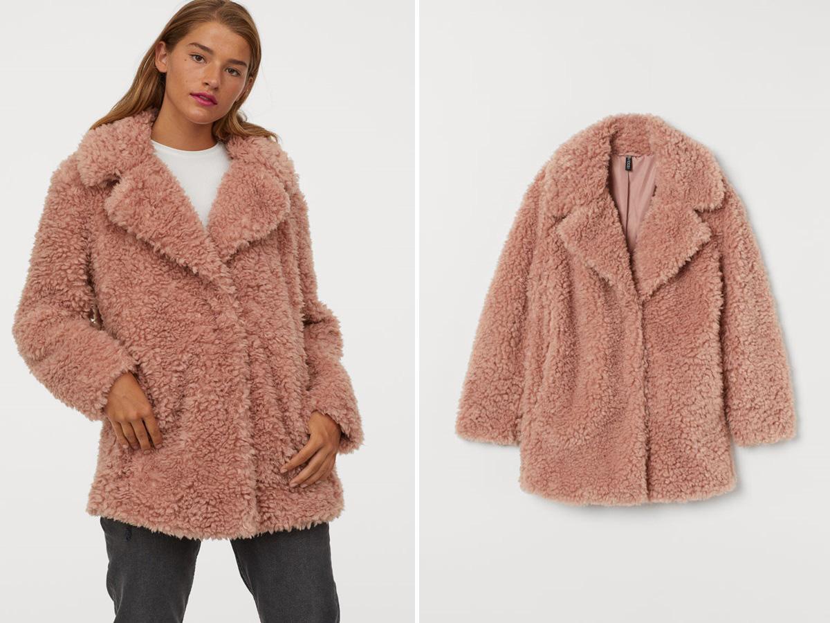 różowy kożuszek H&M