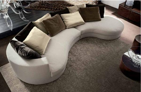 Wyjątkowa kanapa owalna w kolorze kremowym -trendy 2013