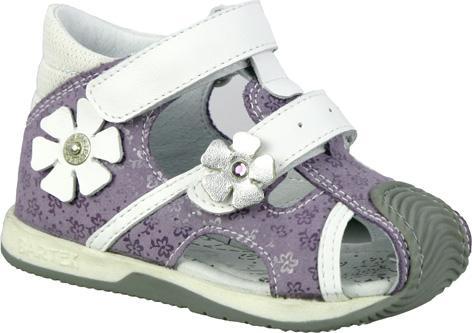 fioletowe sandałki BARTEK z kwiatkami na rzepy