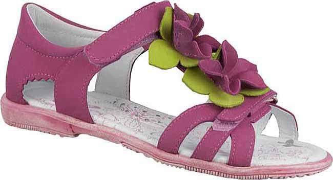 różowe sandałki BARTEK z kwiatkami na rzepy