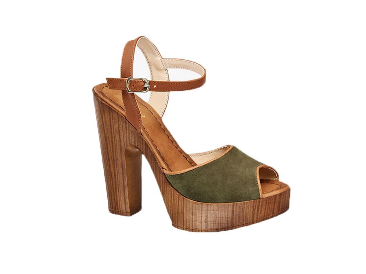Sandały na drewnianym obcasie, Deichmann, cena ok. 99,90 zł