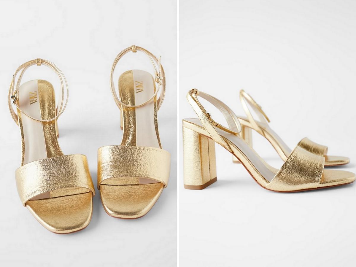 złote sandały na słupku z Zary