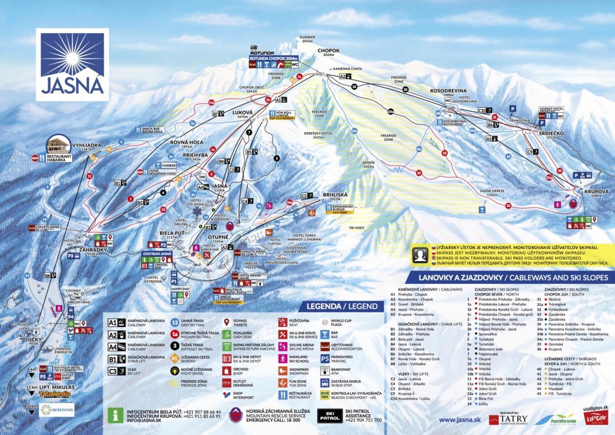 Słowacja Chopok - trasy narciarskie - skimapa