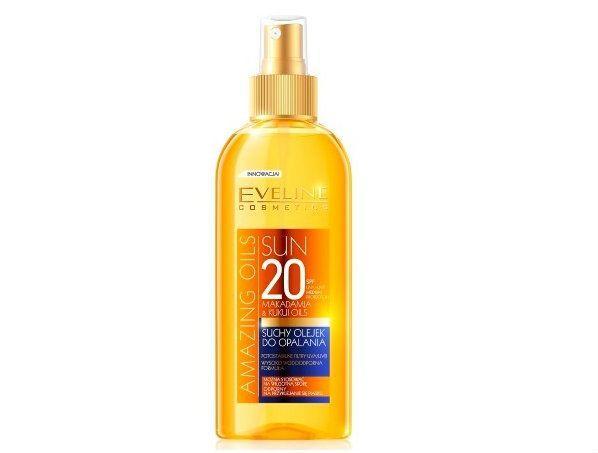Suchy olejek do opalania SPF 20 Eveline Cosmetics cena ok 25 zł.