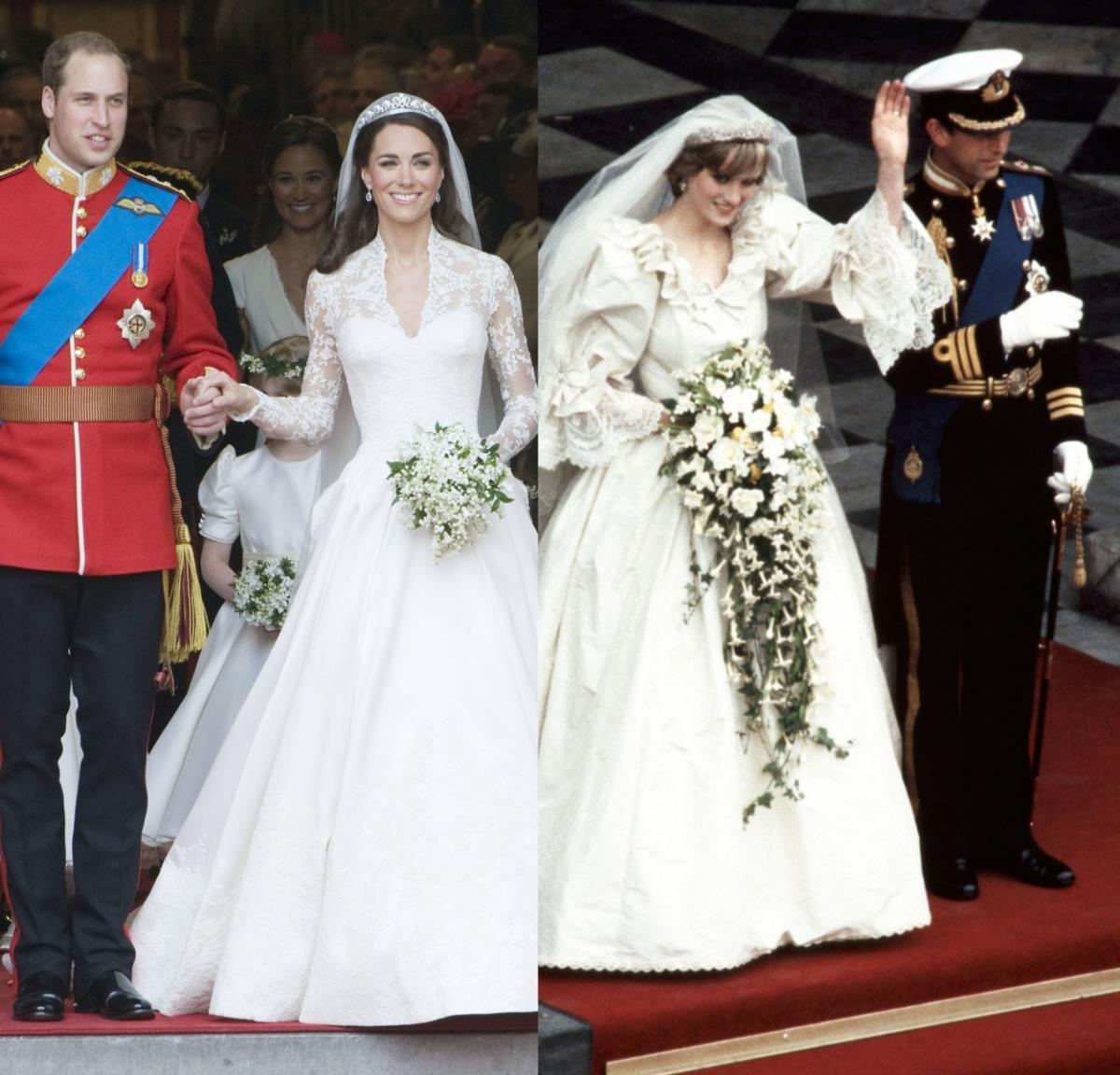 Królewskie Suknie ślubne Meghan Markle Księżna Kate Księżna Diana