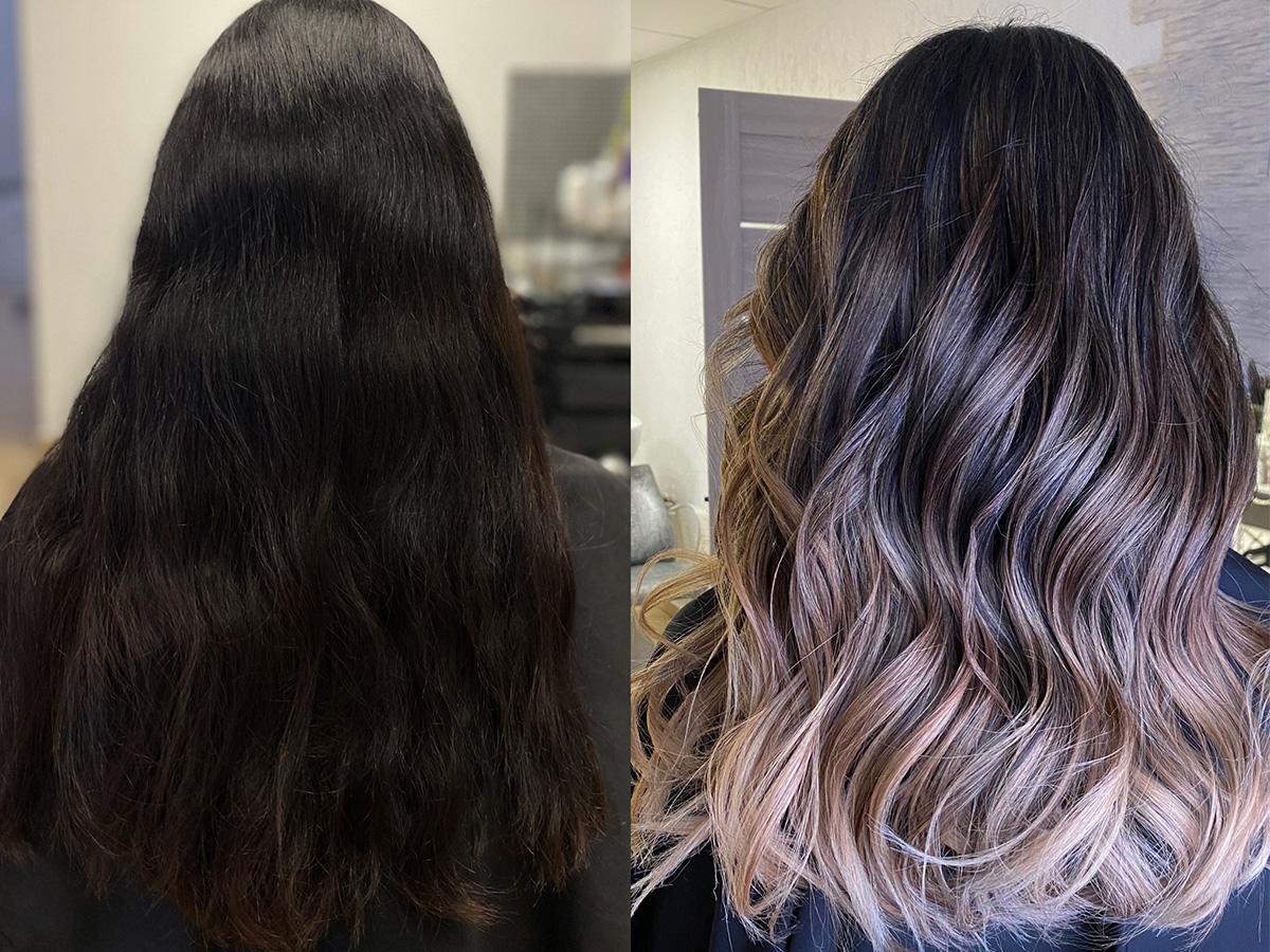 sombre na ciemnych włosach efekt