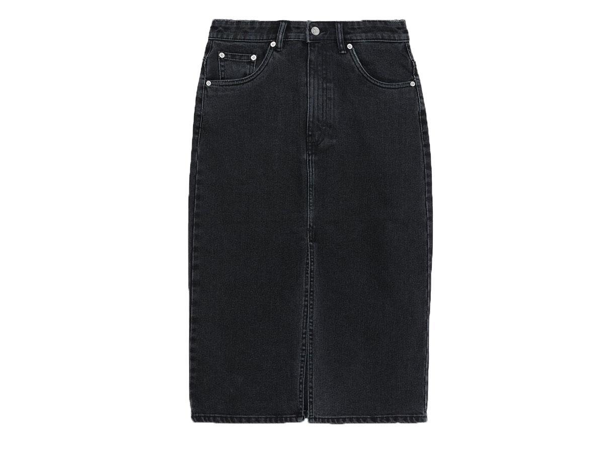 Grafitowa spódnica jeansowa midi Zara