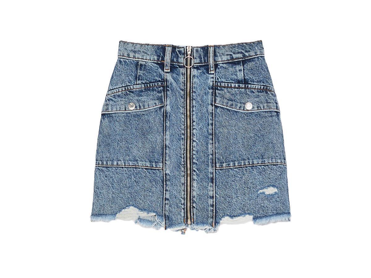 Spódnica ze spranego jeansu Bershka