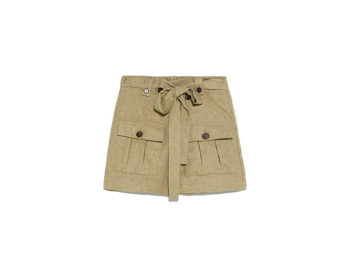 Spódnica mini w kolorze khaki, Zara, cena ok. 139,00 zł