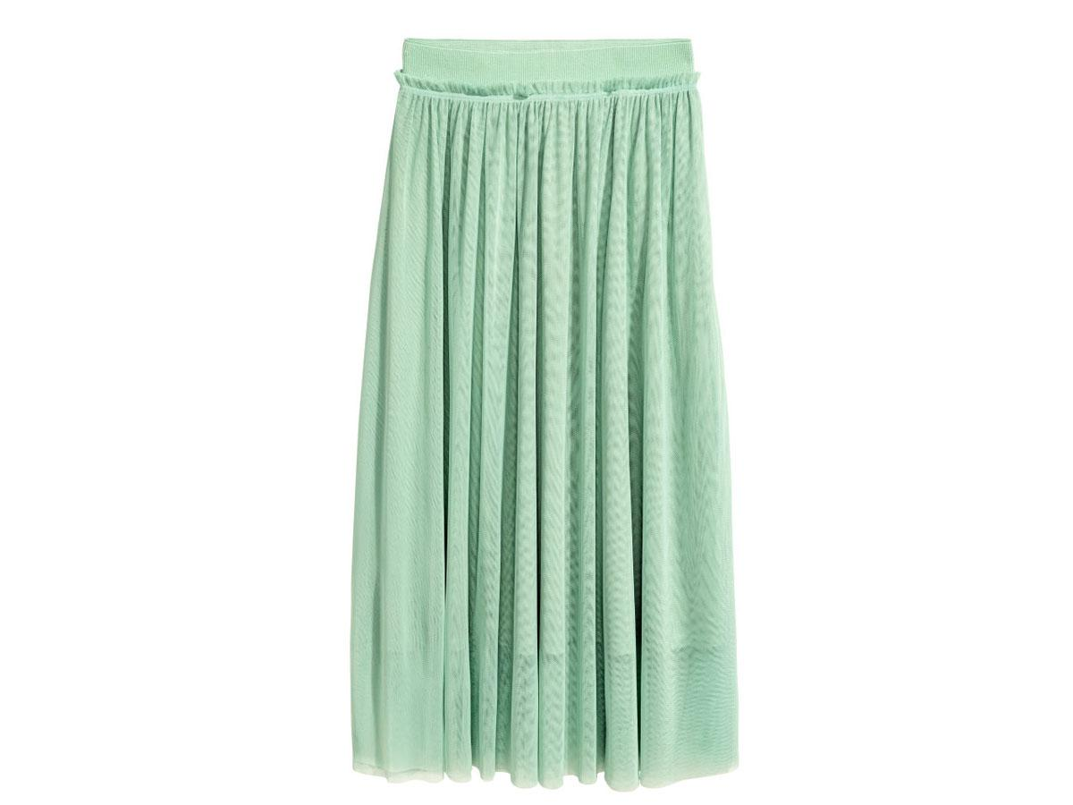 Miętowa tiulowa spódnica maxi H&M