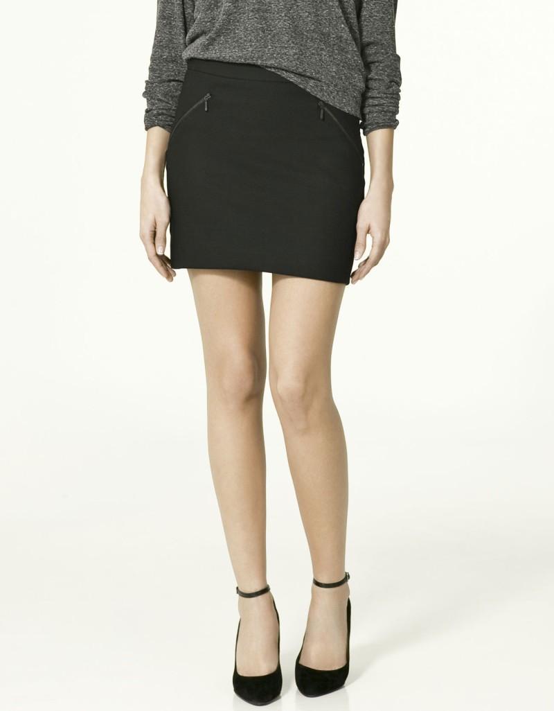 czarna spódnica ZARA z zamkami - letnia kolekcja