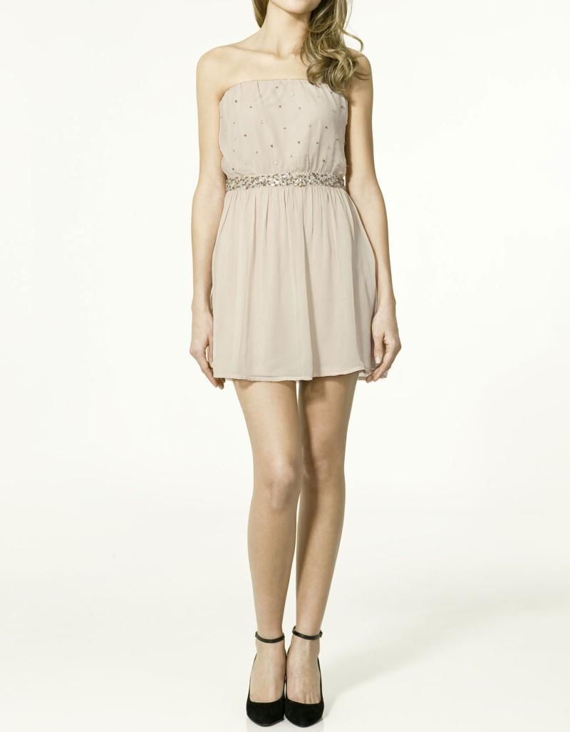 beżowa sukienka ZARA odkryte ramiona - z kolekcji wiosna-lato 2011