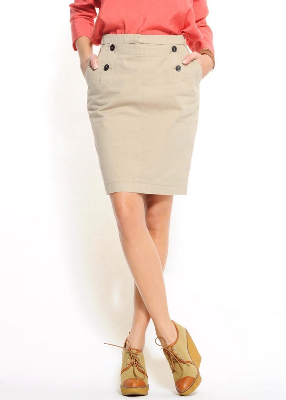 beżowa spódnica Mango ołówkowa - z kolekcji wiosna-lato 2011