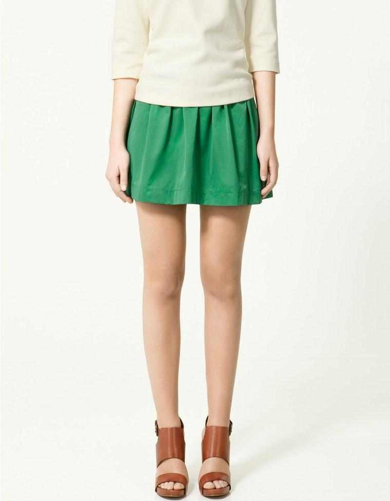 zielona spódnica ZARA mini - wiosna-lato 2011