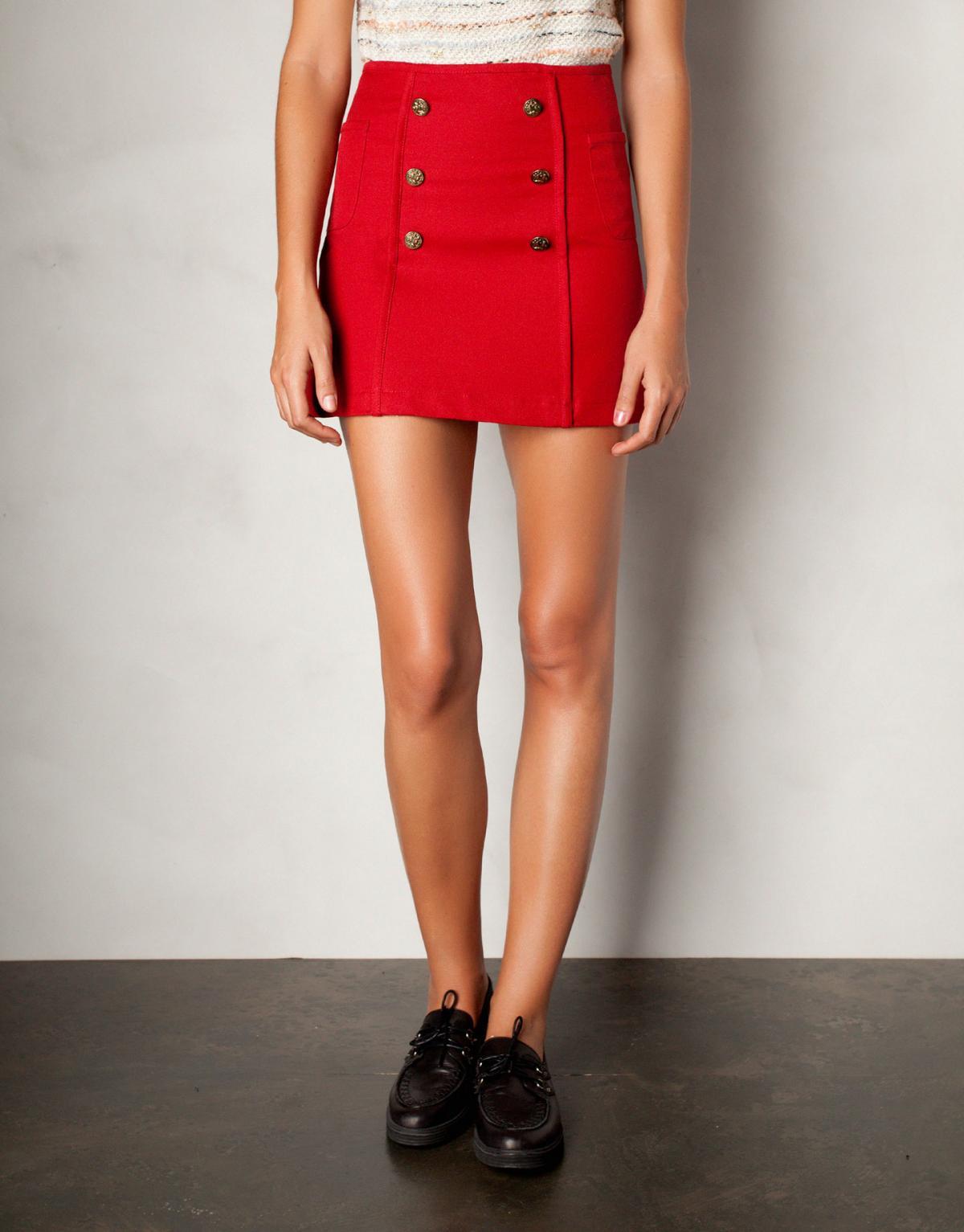 5d114882 seksowna spódnica Pull and Bear w kolorze czerwonym - modne ...