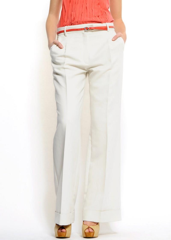 białe spodnie Mango dzwone - z kolekcji wiosna-lato 2011