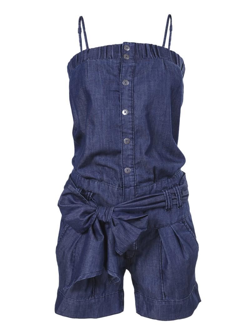 niebieski kombinezon Troll z kokardą dżinsowy - moda 2011