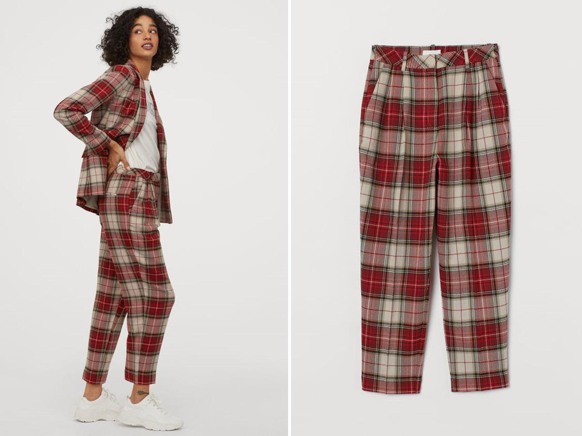 Znalezione obrazy dla zapytania: spodnie w kratę hm 2020