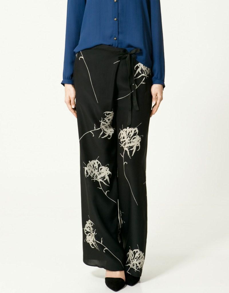 czarne spodnie ZARA w kwiaty - kolekcja wiosenno/letnia