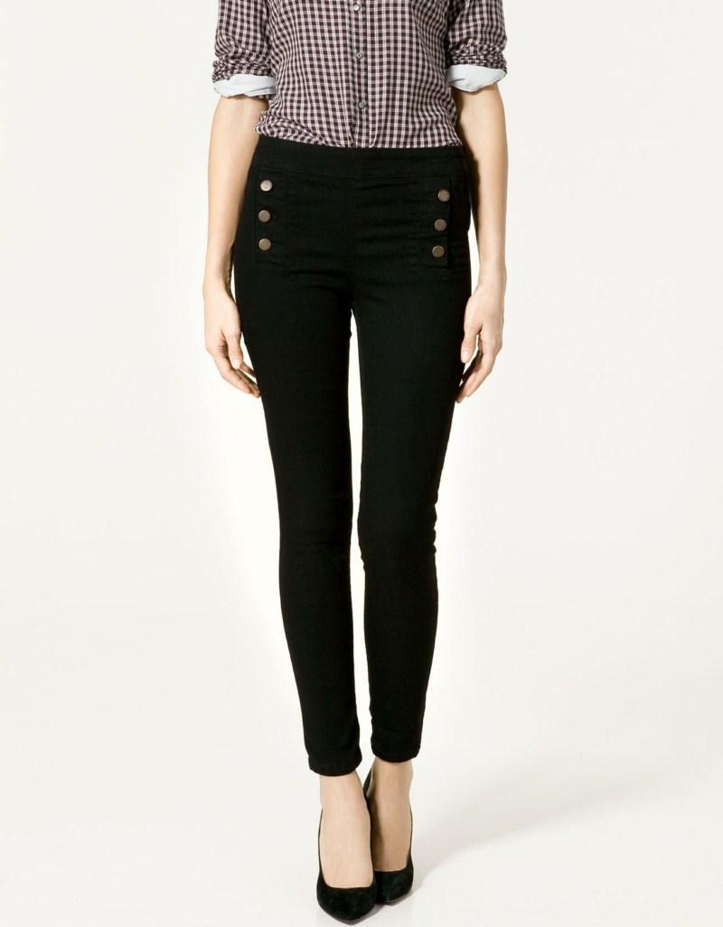 czarne spodnie ZARA z guzikami - moda 2011