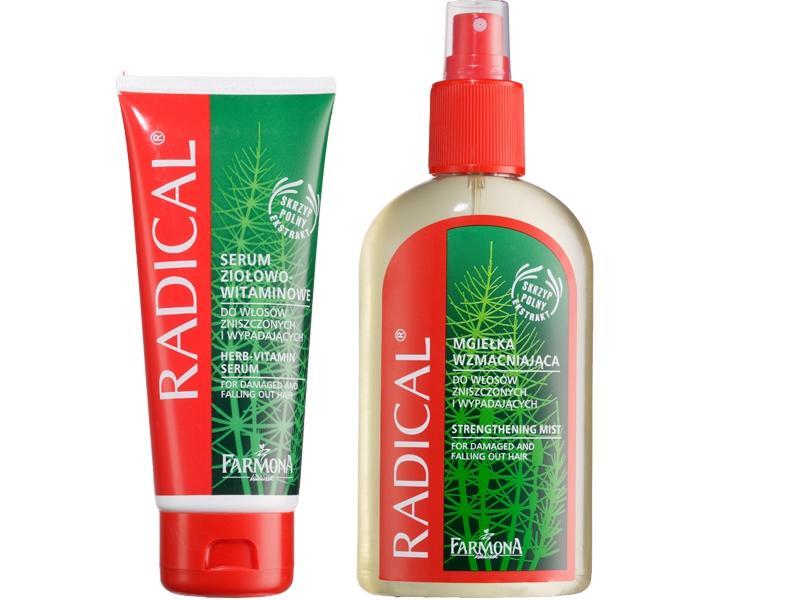 Mgiełka Radical Farmona 200 ml ok. 7 zł,  Serum Radical Farmona 100 ml, ok. 11 zł