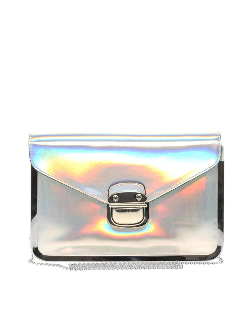a7bd1919140f4 elegancka torebka Asos w kolorze srebrnym - błyszczące torebki ...