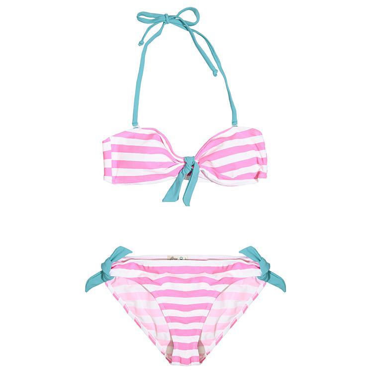 bikini House w pasy w kolorze różowym - modne stroje kąpielowe