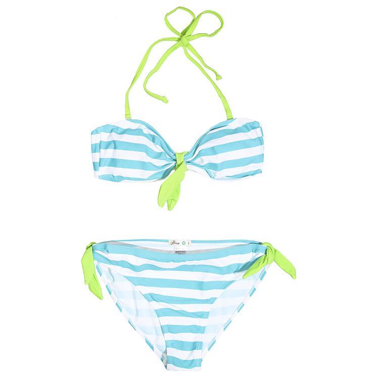 biało-niebieskie bikini House w paski - modne stroje kąpielowe