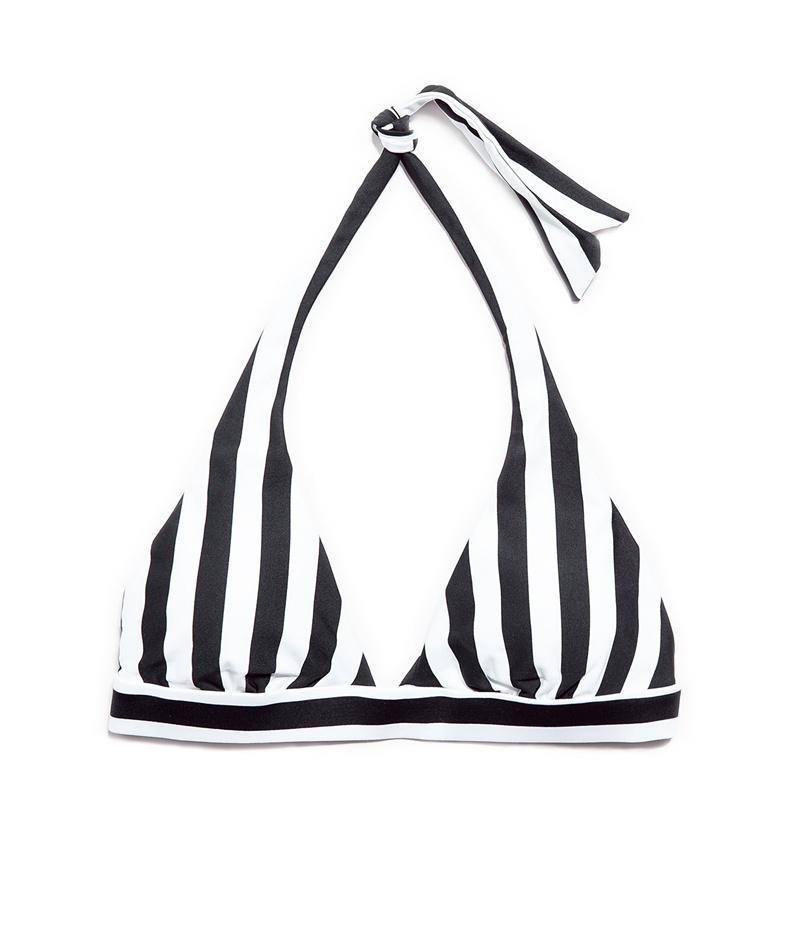 biało-czarna góra bikini ZARA w paski - stroje kąpielowe 2013