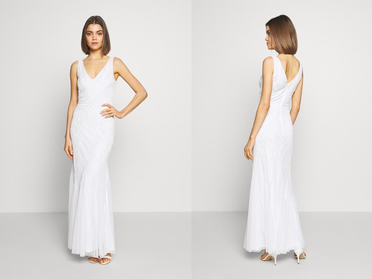 Suknia ślubna na cywilny z koralików