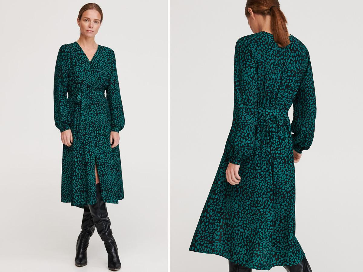 Wzorzysta sukienka midi Reserved