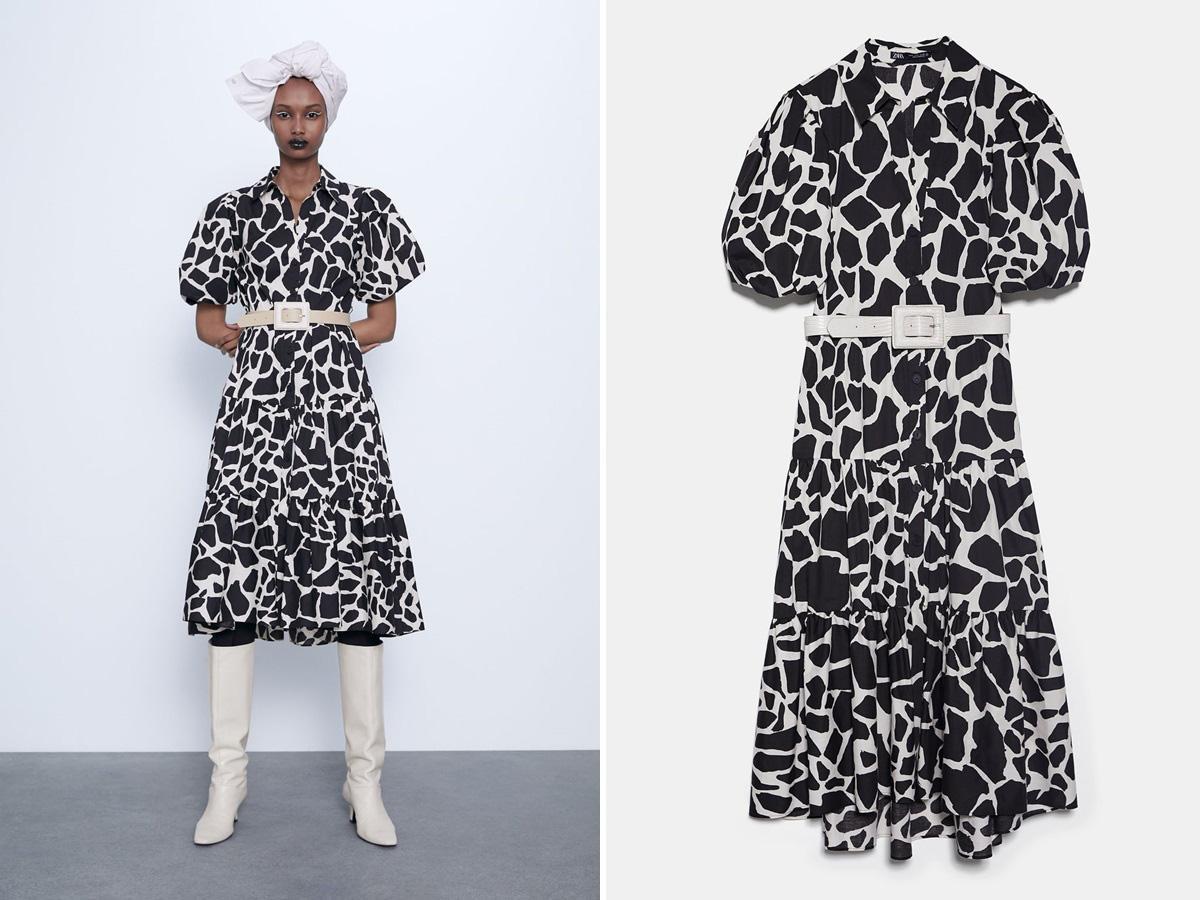 sukienka w animal print Zara