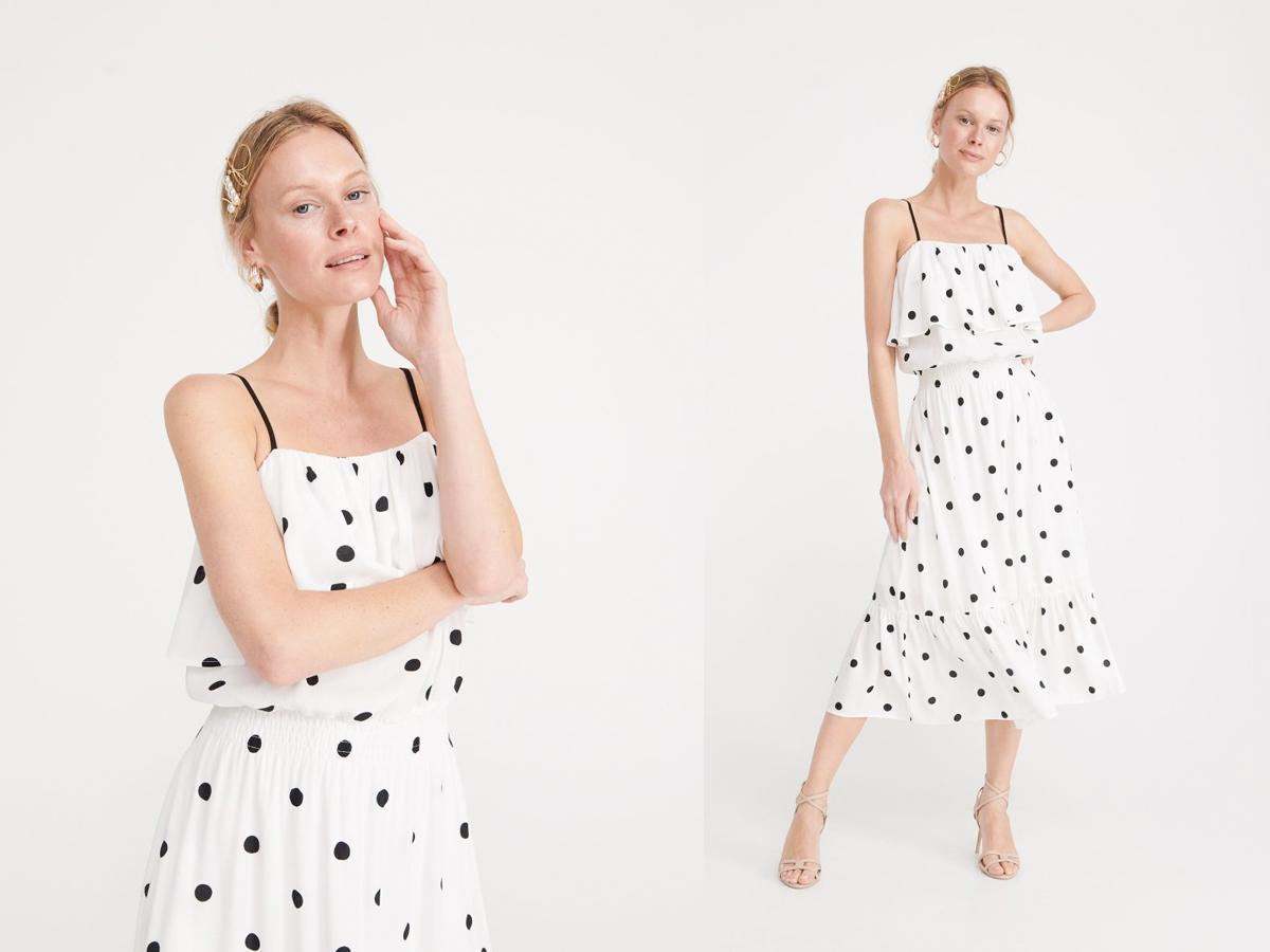 Biała midi sukienka w grochy, Reserved
