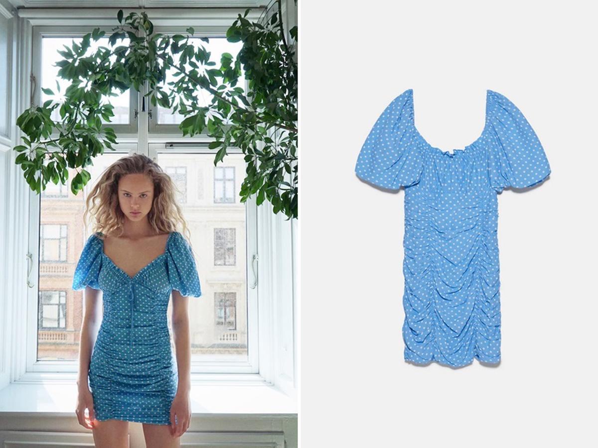 niebieska sukienka w grochy z zary