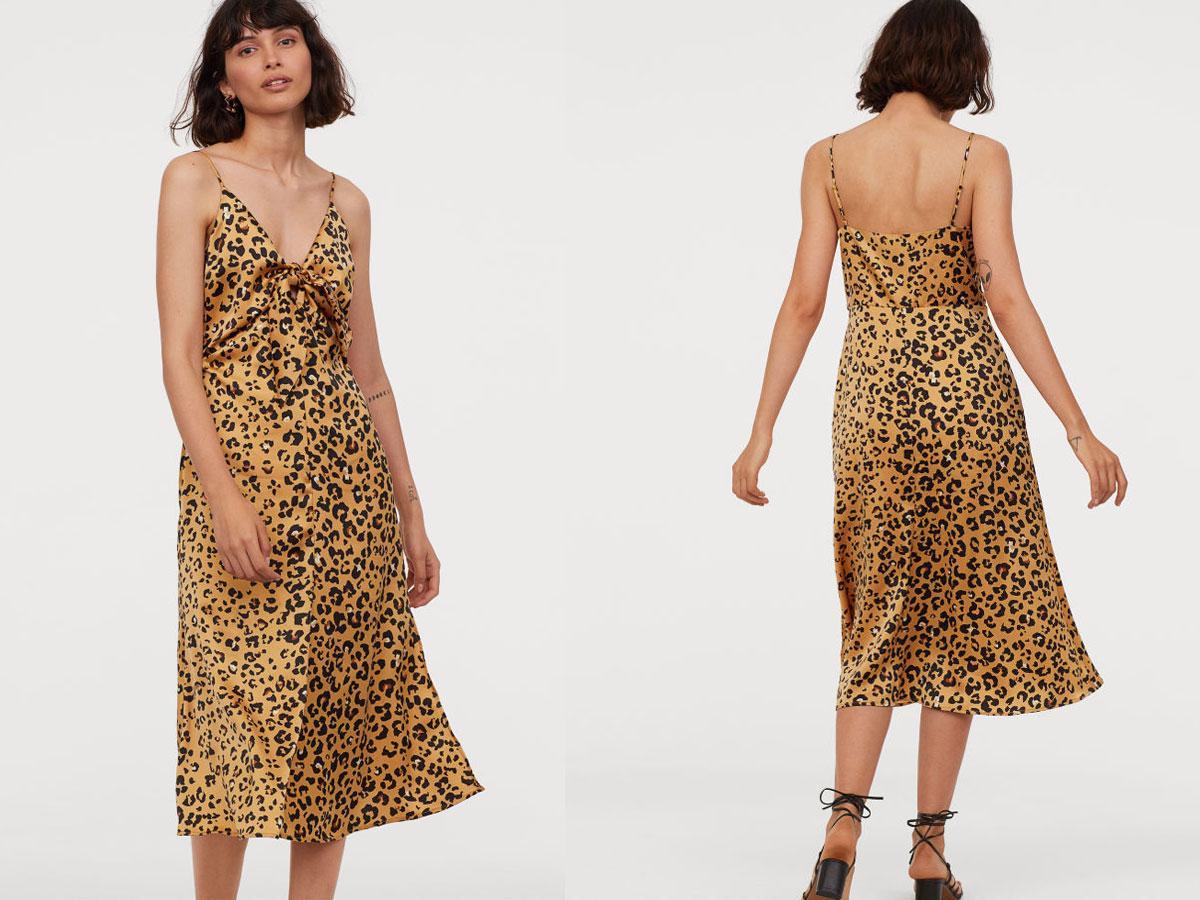 Bieliźniania sukienka w panterkę H&M