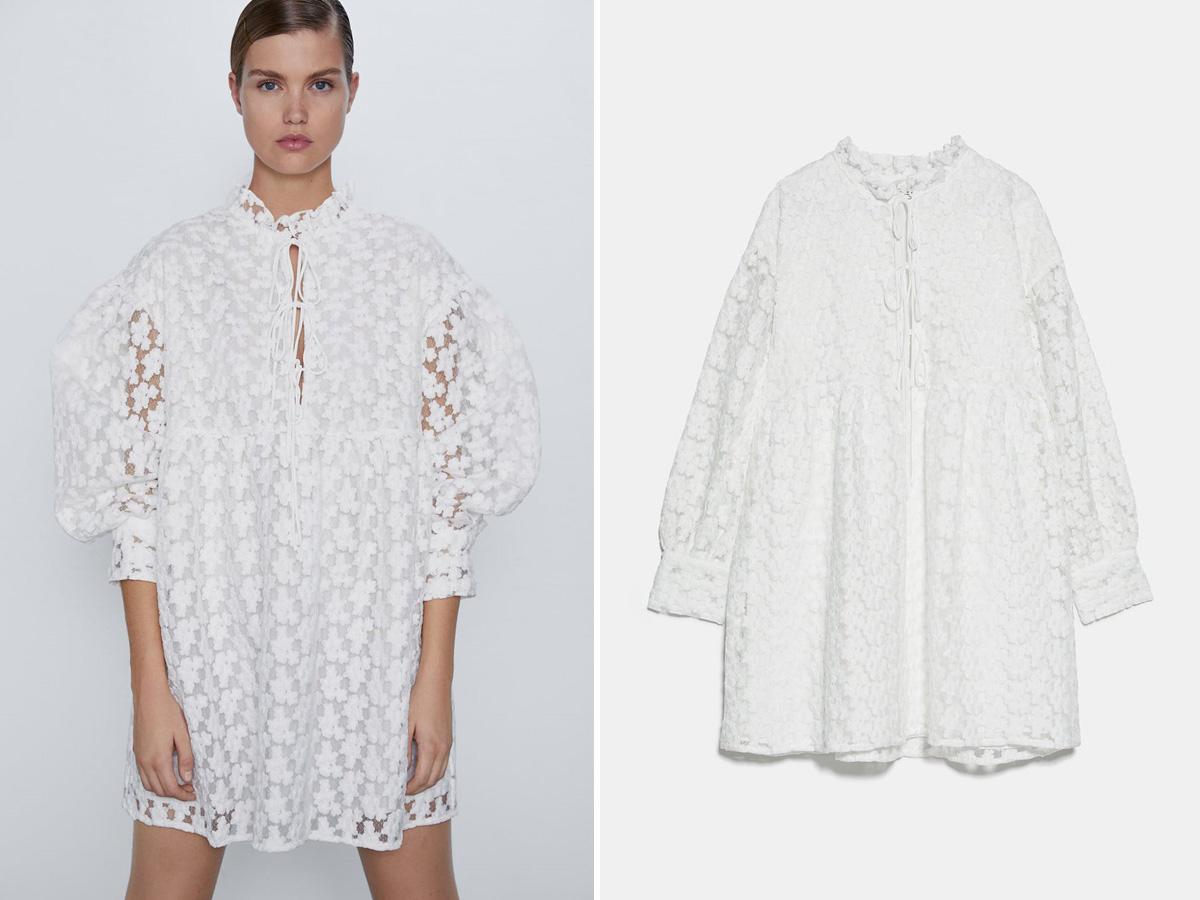 biała sukienka boho zara