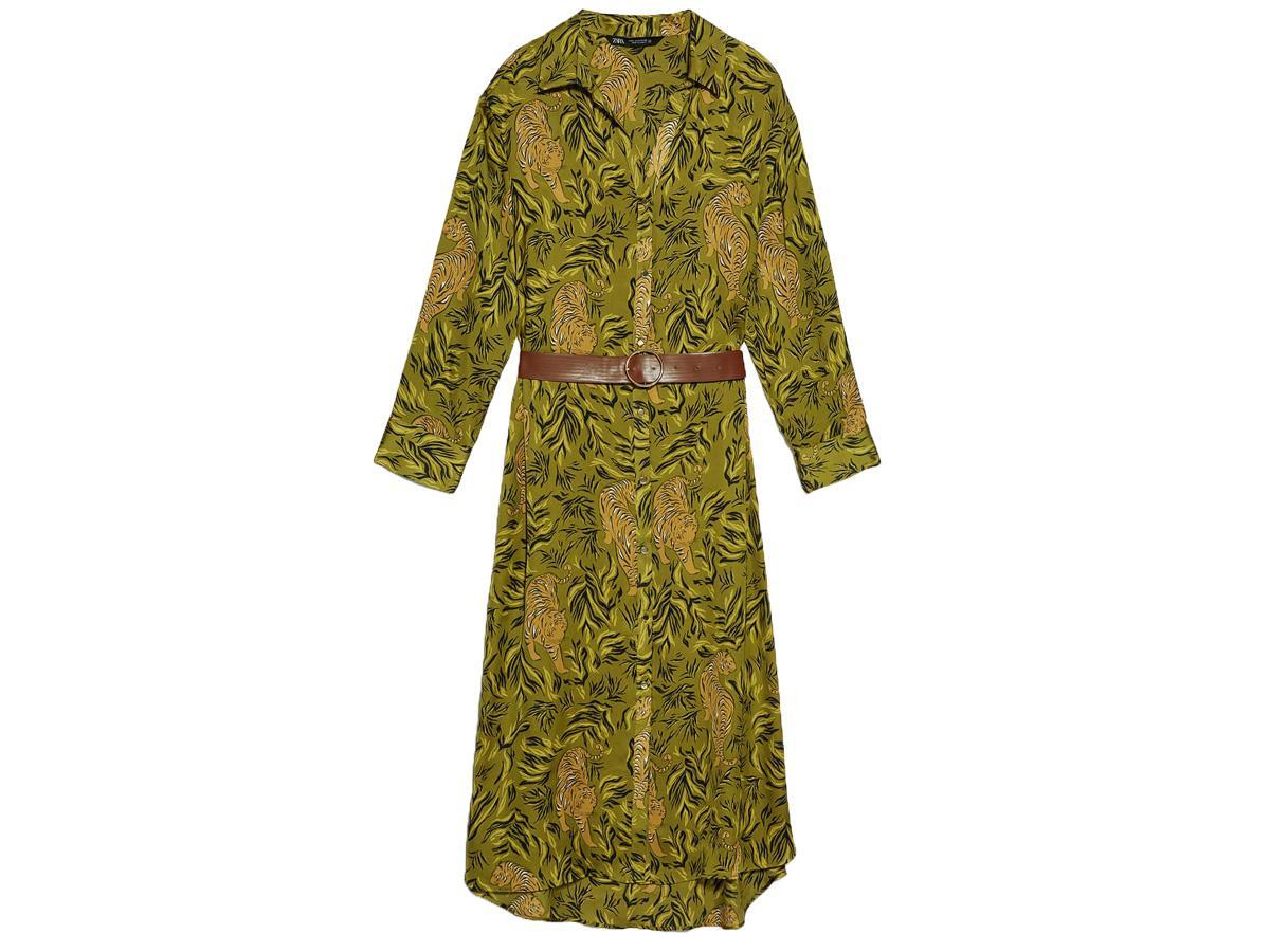 sukienka w tropikalny wzór Zara