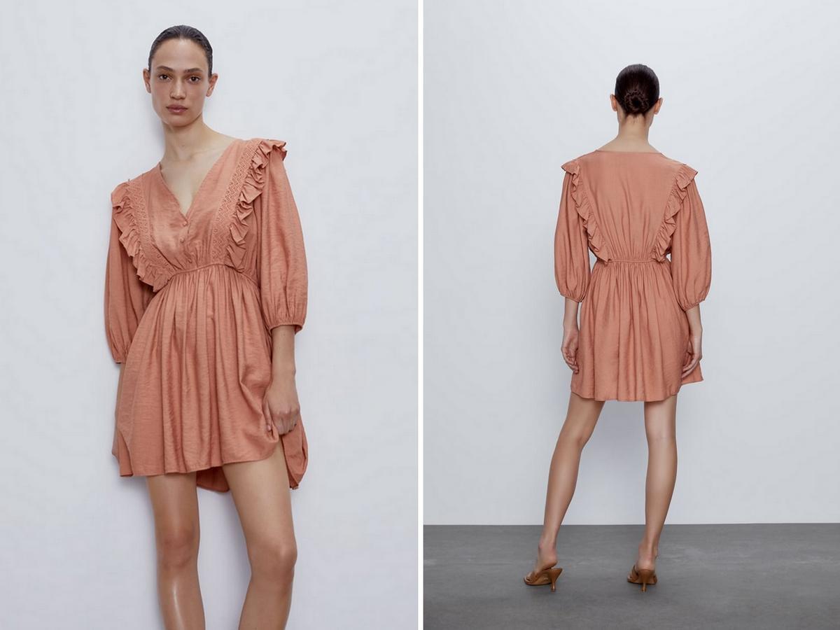 sukienka z gipiury w kolorze marsala