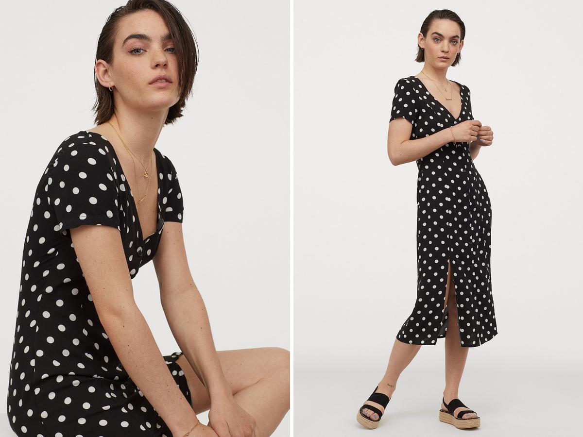 sukienka z H&M w grochy