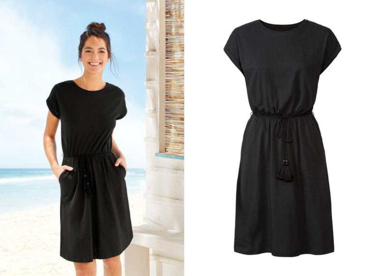 Czarna bawełniana sukienka Lidl