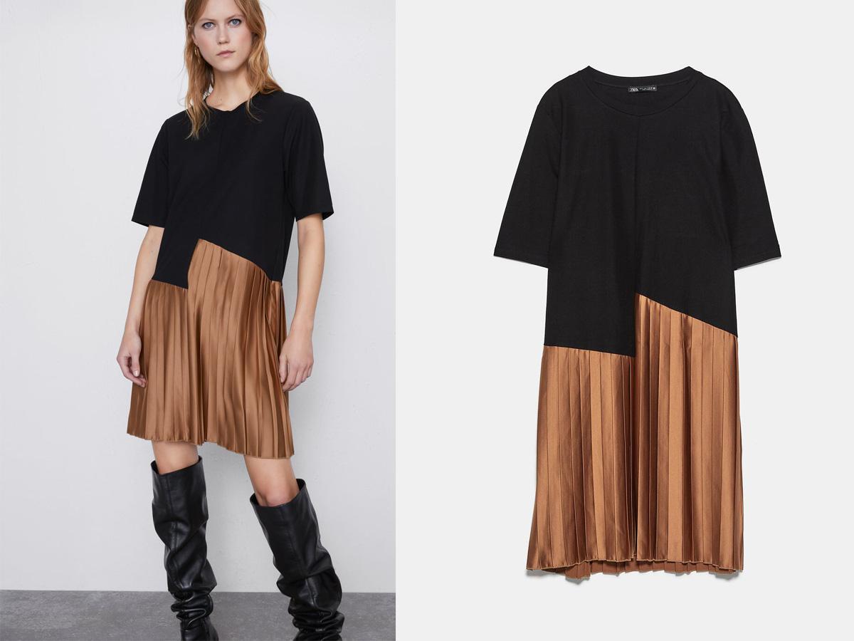Sukienka z plisowanym dołem Zara