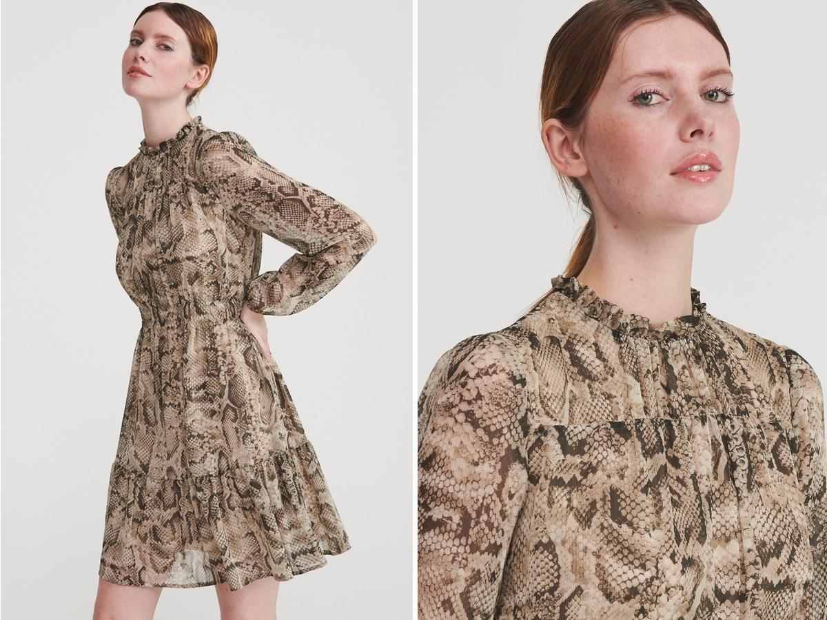 sukienka we wzór wężowej skóry z Reserved