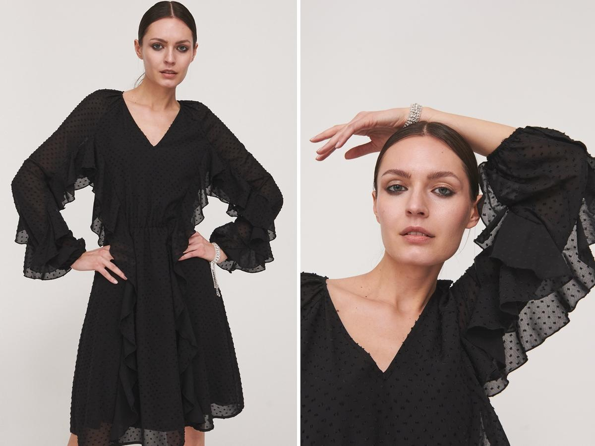 sukienka z tkaniny plumeti w reserved
