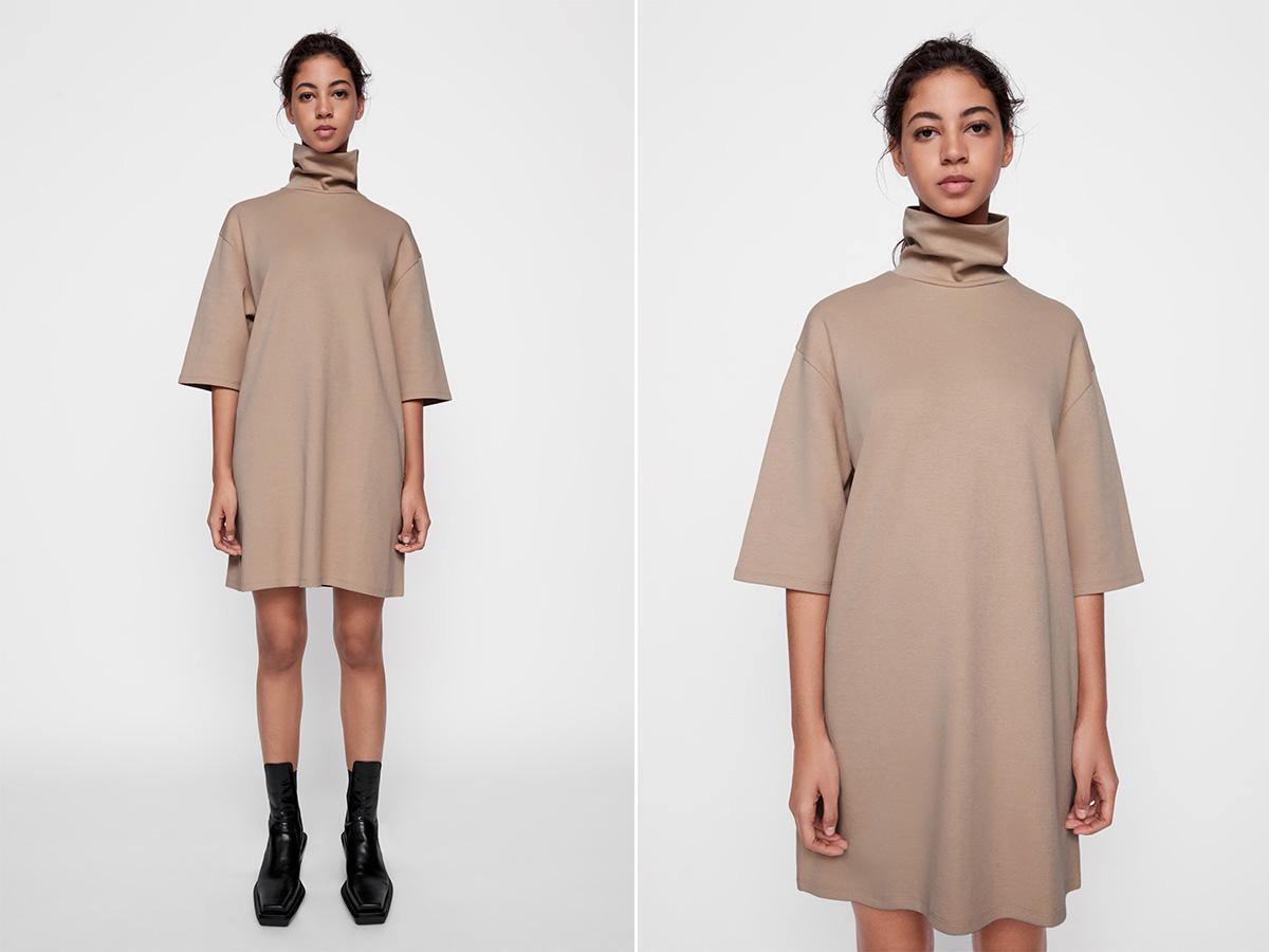 sukienka Zara beżowa