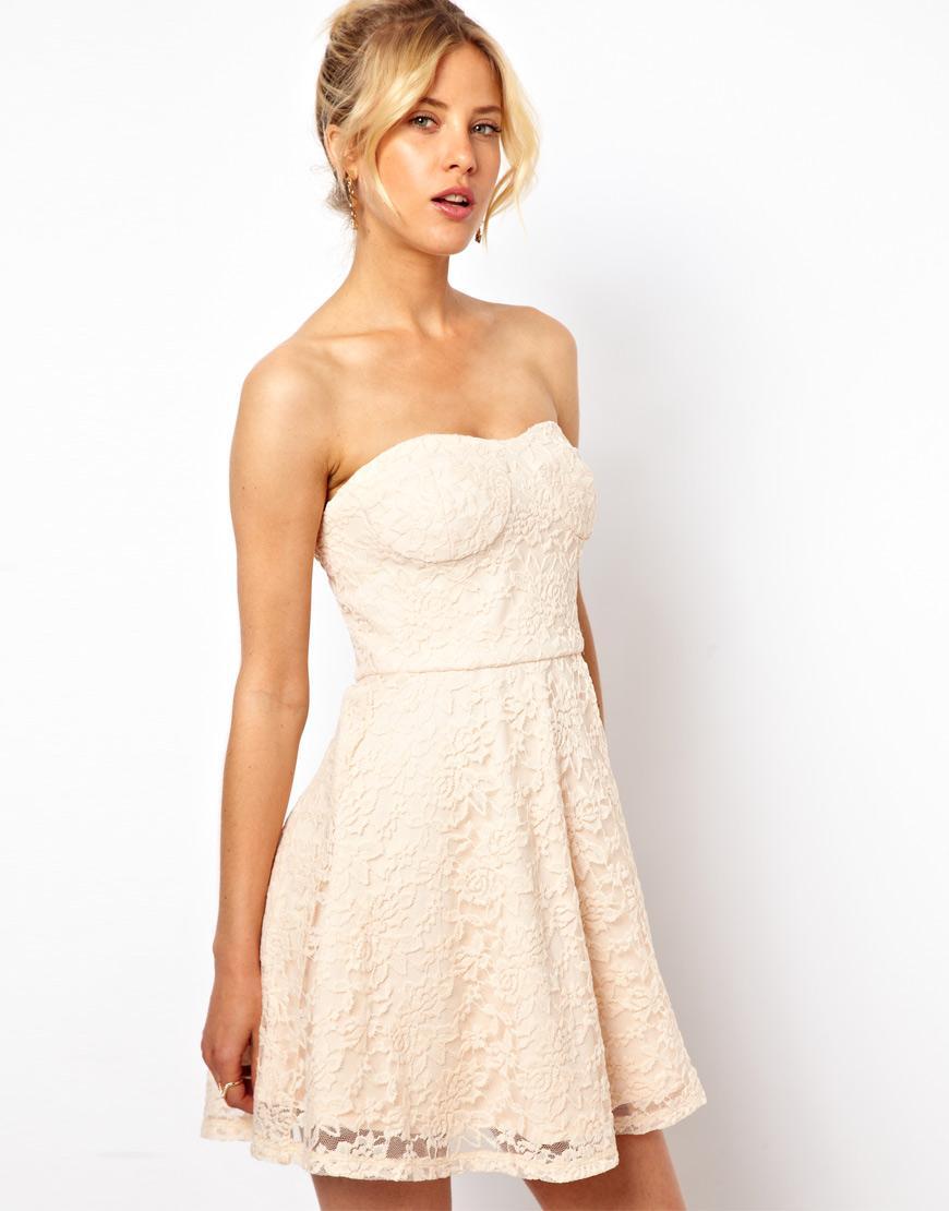 ecru sukienka Asos koronkowa  - moda na lato 2013
