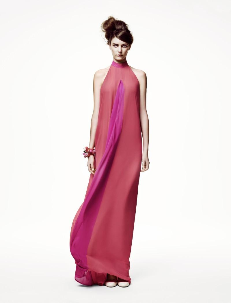 różowa sukienka H&M długa - wiosna/lato 2011