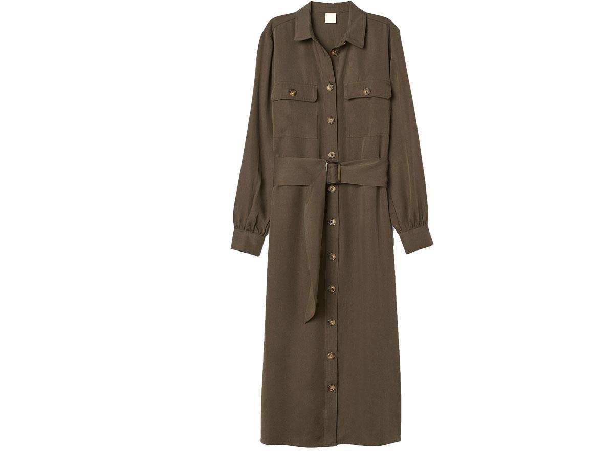 Koszulowa sukienka w kolorze khaki, H&M, cena ok. 129,99 zł