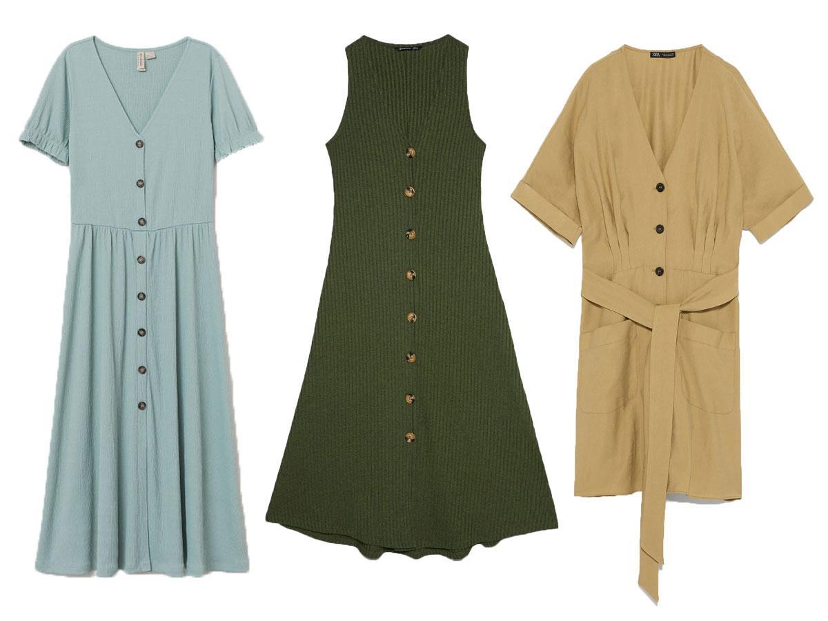 Sukienki na lato 2019: z guzikami