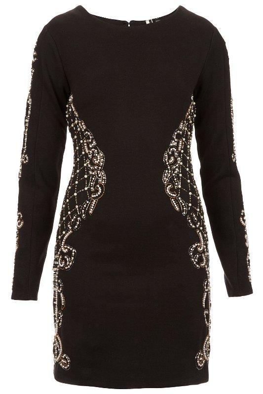 Czarna sukienka z długimi rękawami , ozdobiona koralikami. Topshop, około 300 zł